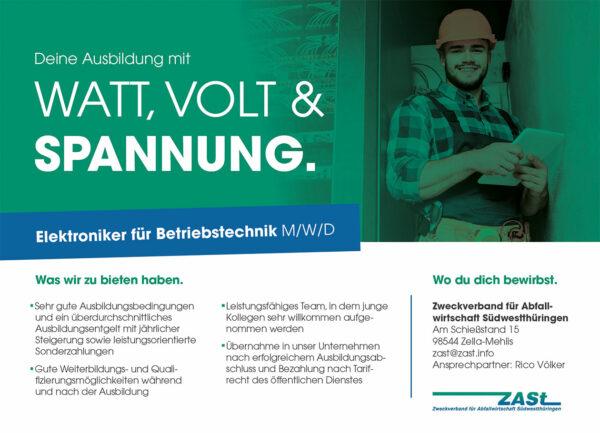 ZASt Ausbildungsangebot: Elektroniker für Betriebstechnik